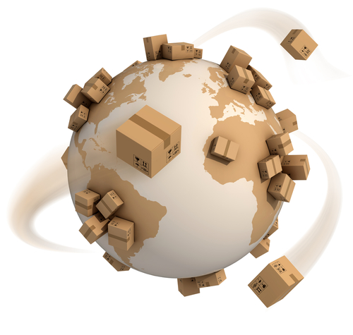 Boxes being shipped around a globe