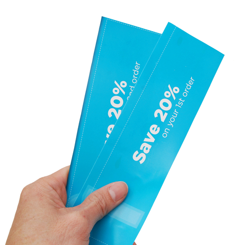 Two blue coupons saying, 'Save 20%'