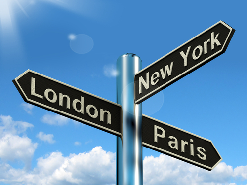 road signs pointing to London, New York and Paris