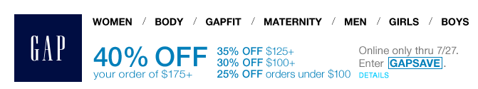 Gap.com coupon codes