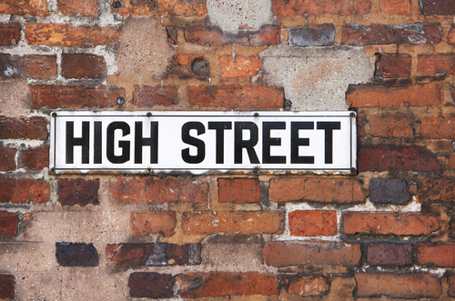 High Street sign on brick wall