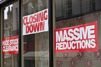 closing down shop signs