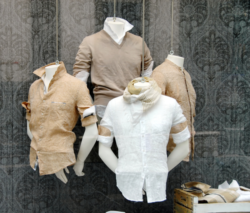 4 mens mannequins with tan coloured dress shirts