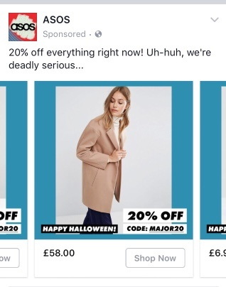 ASOS Facebook Halloween marketing campaign