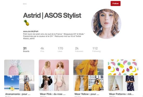 Pinterest ecommerce influencer ASOS Astrid