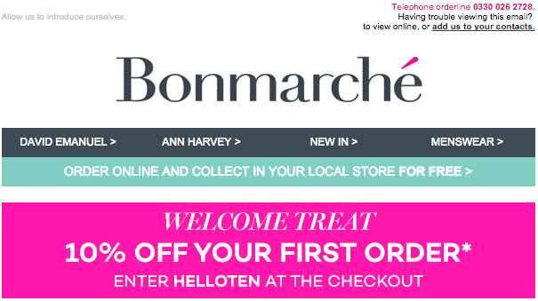 Bonmarché welcome email