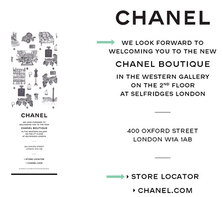Chanel email marketing promoting new London boutique
