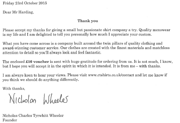 Charles Tyrwhitt great customer service example