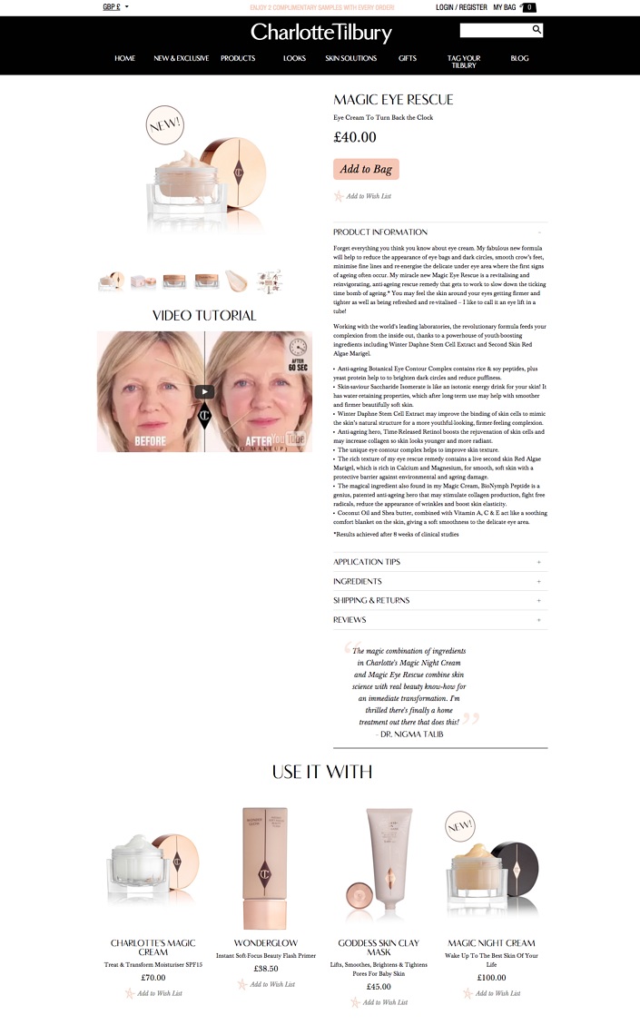 Charlotte Tilbury product page.