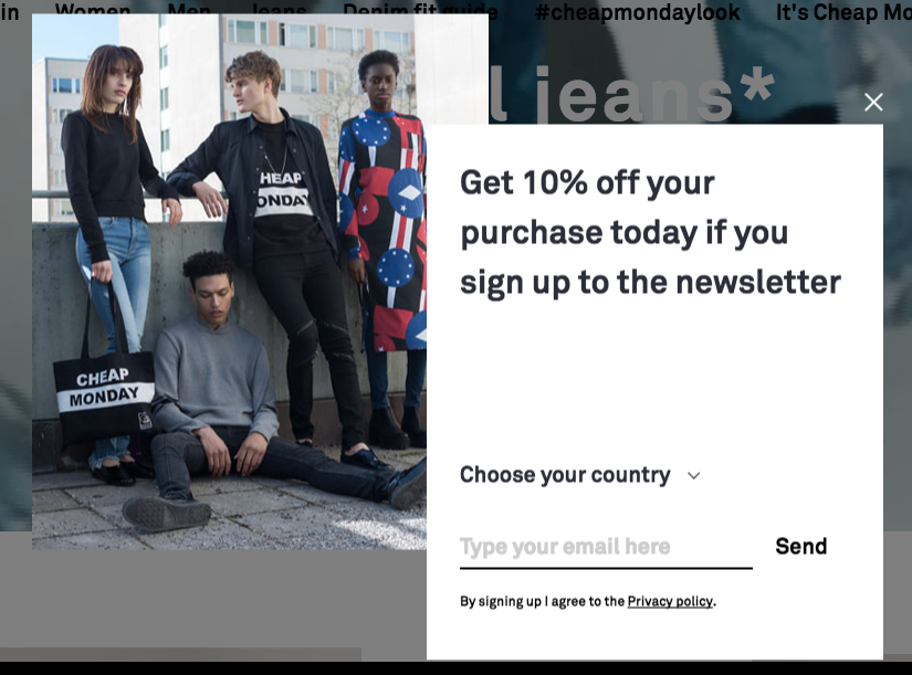 Cheap Monday ecommerce popup example_brilliant design