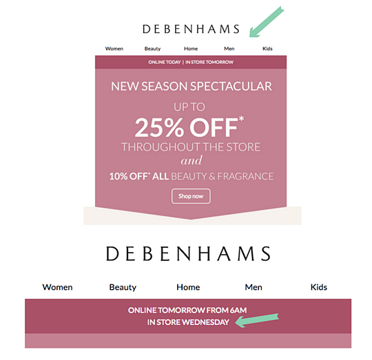 Debenhams promoting instore sale via dynamic content in email marketing