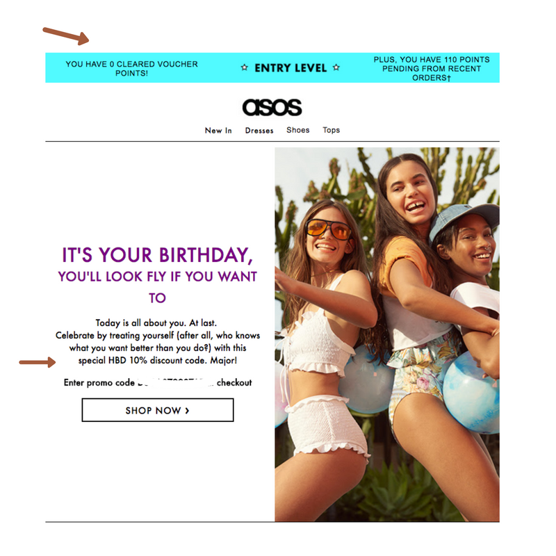 ASOS ecommerce birthday email example