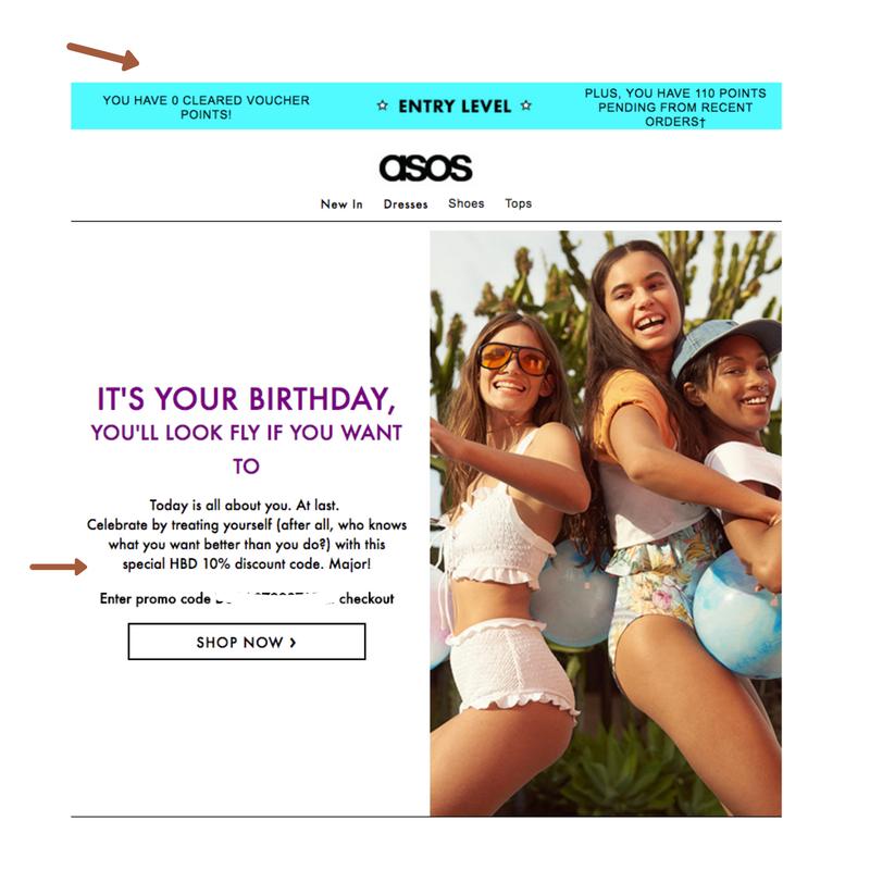 ASOS ecommerce birthday email example