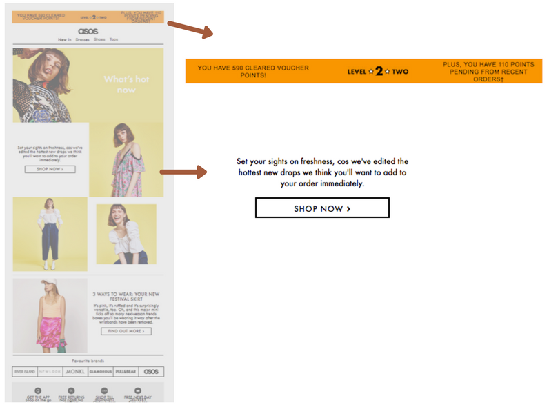 Example ecommerce dynamic content ASOS