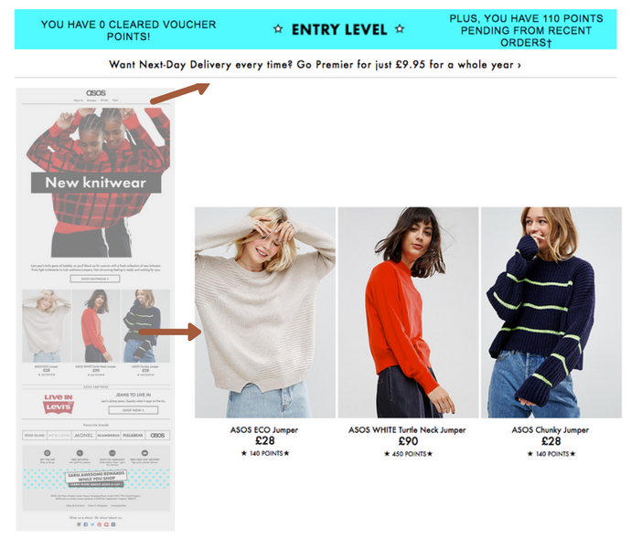 ASOS newsletter personalised content in ecommerce email marketing