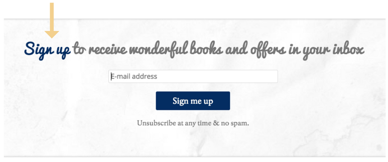 Blackwell's ecommerce site newsletter popup