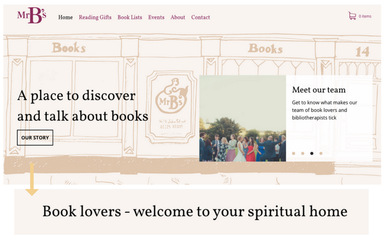 ecommerce bookshops Mr B's Emporium homepage