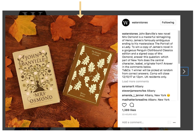 Waterstones social media marketing