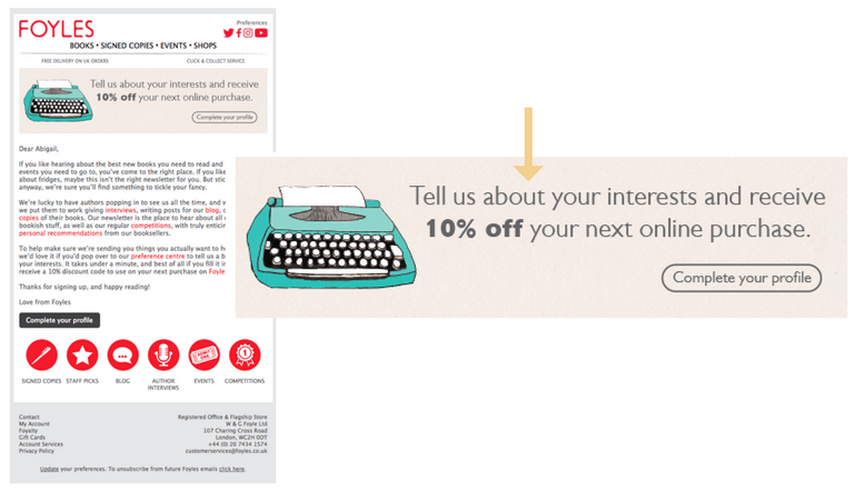 Foyles welcome email ecommerce marketing