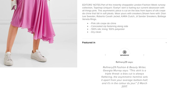 Endource ecommerce first ecommerce site product page pink topshop skirt