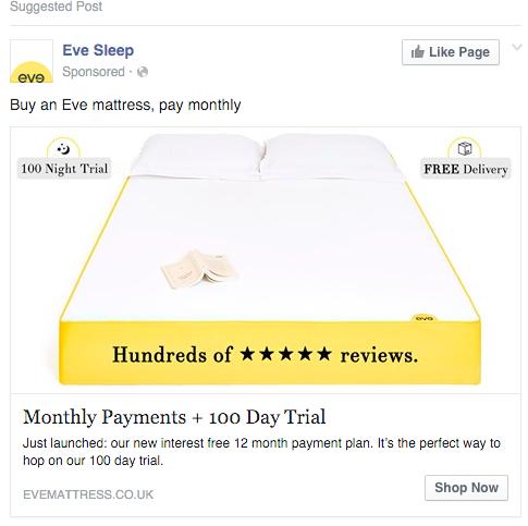 Eve Sleep Facebook marketing best practices