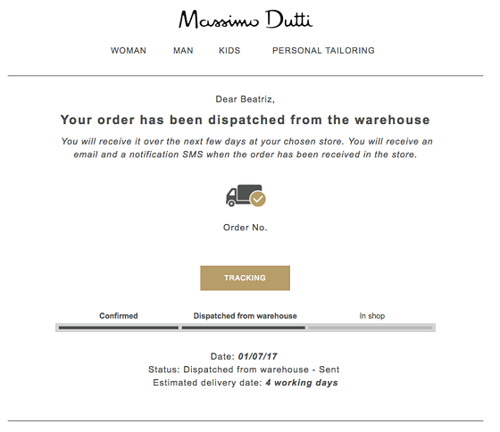 Massimo Dutti disptach confirmation