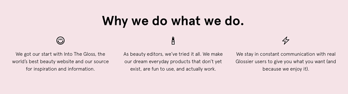 Ecommerce brand Glossier about setion