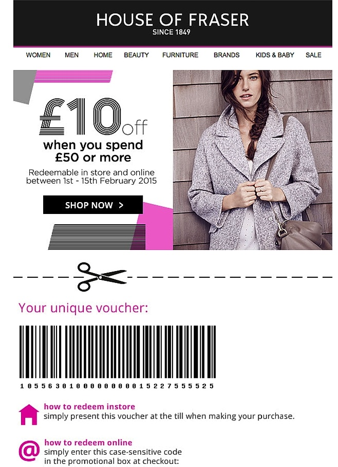House of Fraser email offline example