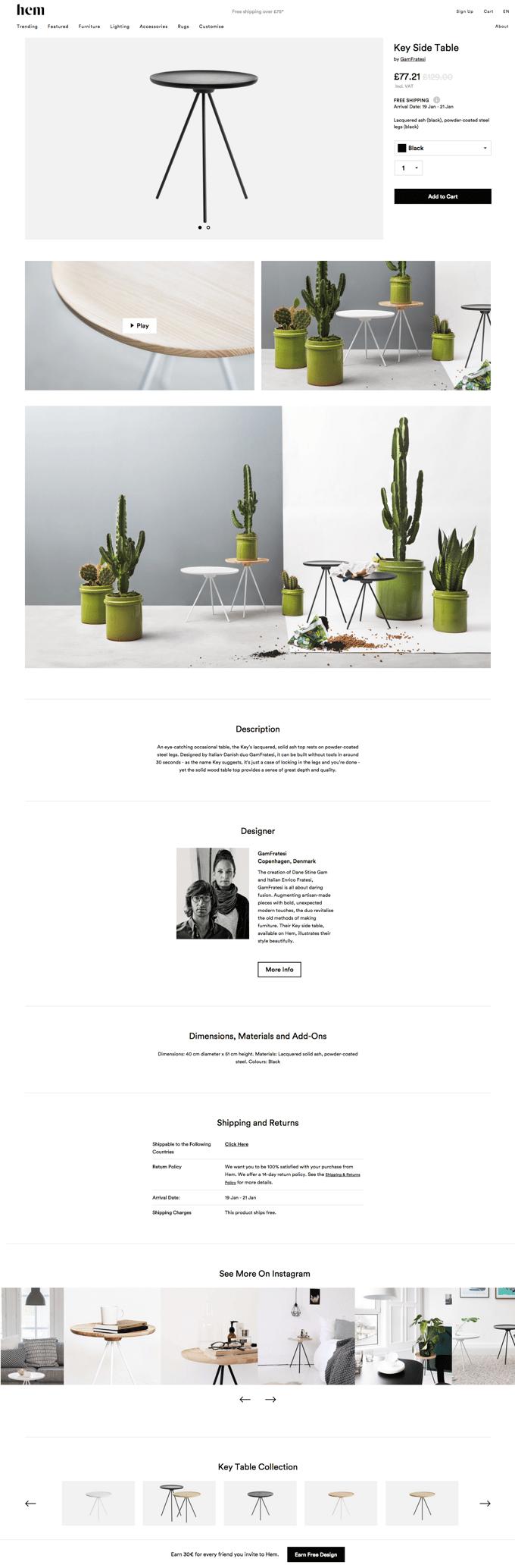 Hem product page