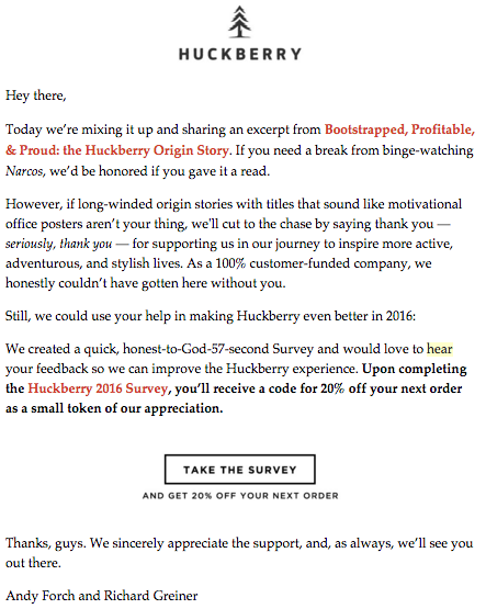 Huckberry survey email