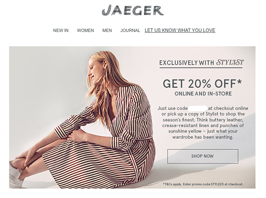 Jaeger email marketing promoting online and in-store sale