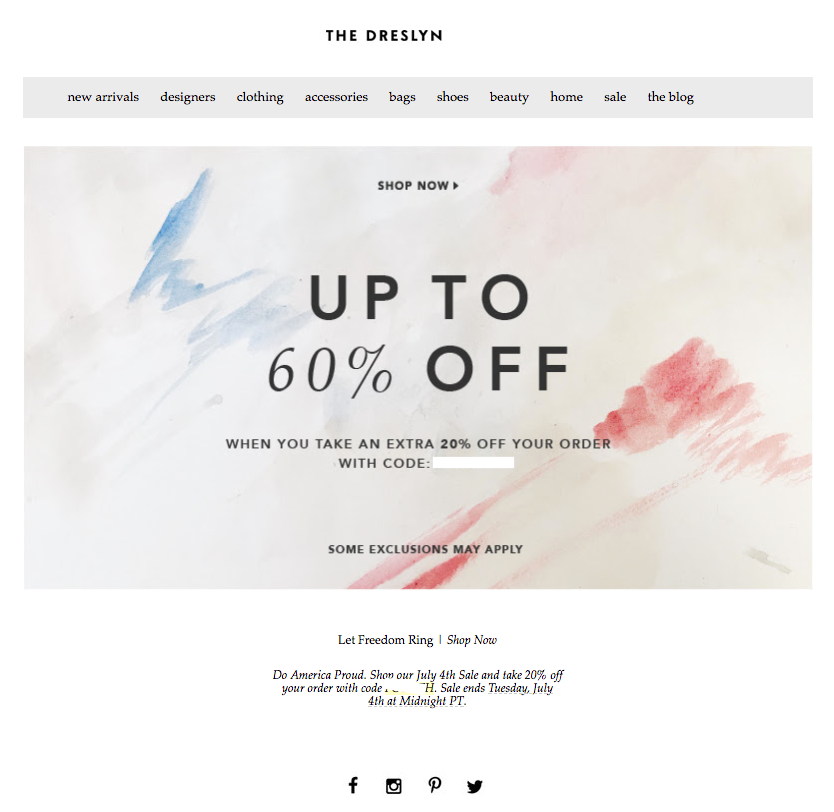 The Dreslyn Fourth July email