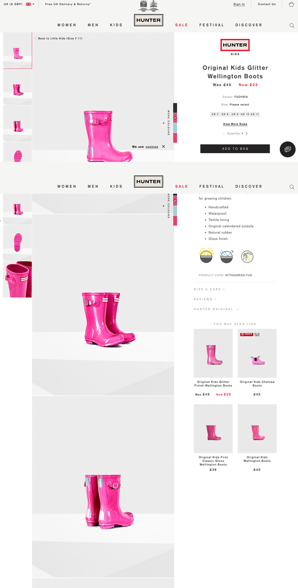 Hunter ecommerce product page