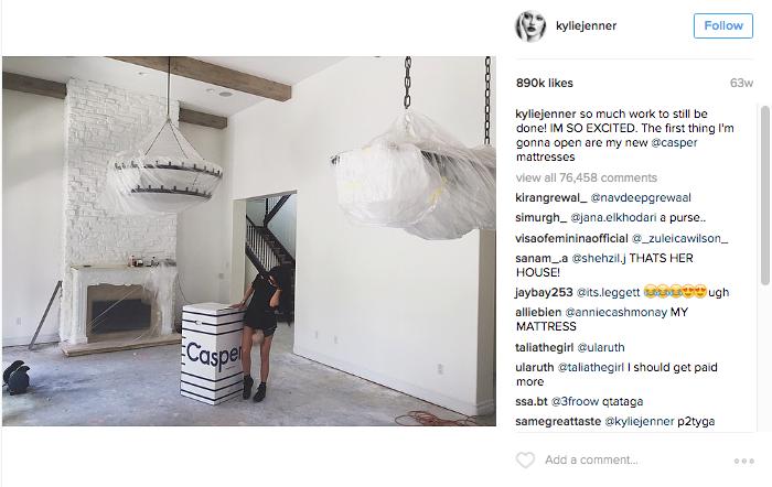 Kylie Jenner Instagram post Casper online mattress company
