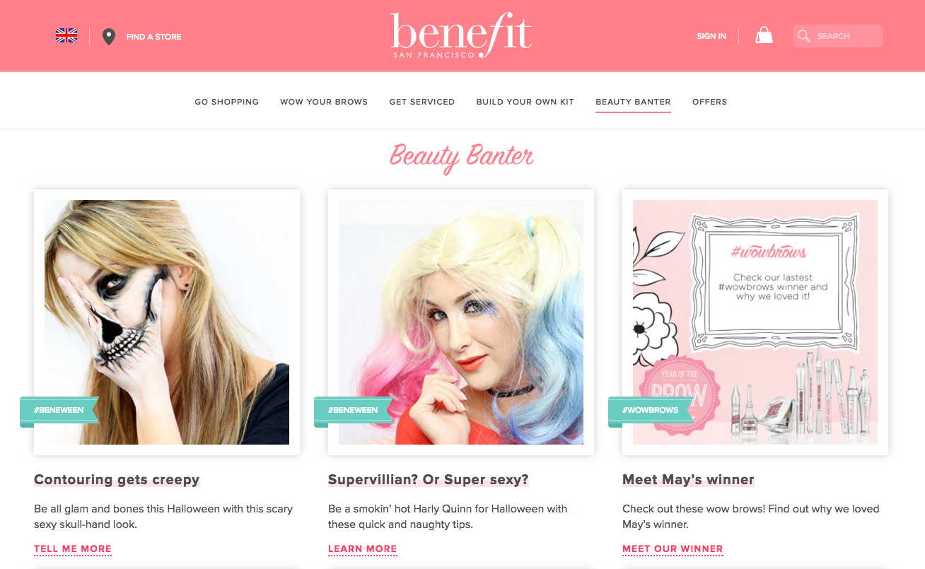 Benefit websote header