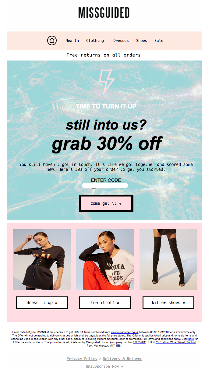 win back email campaign example_ Missguided.
