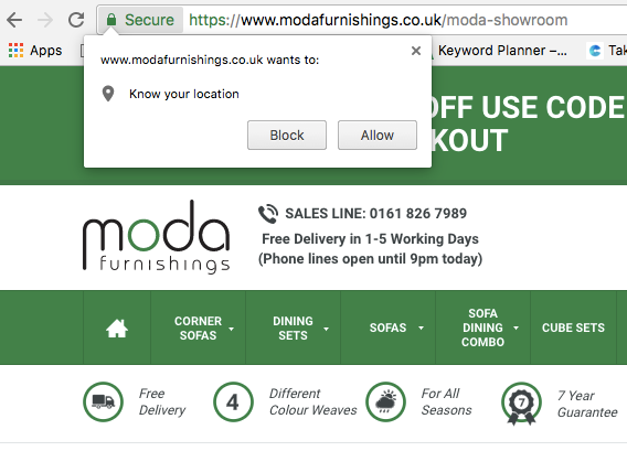 Moda Furnishings push notification