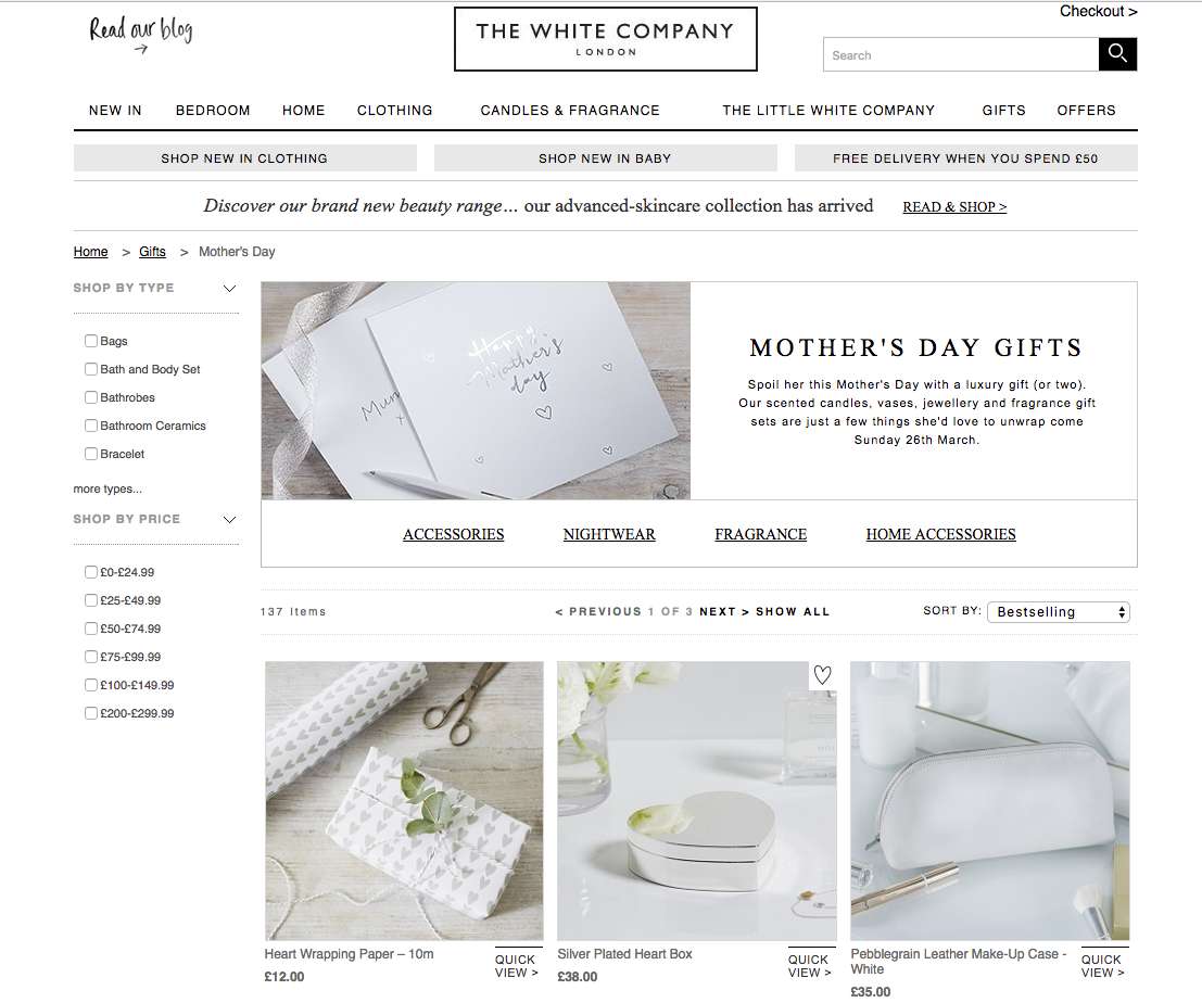 The White Company Mother's Day marketing