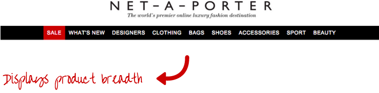 NET-A-PORTER navigation bar