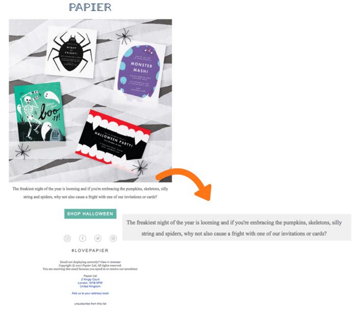 PAPIER ecommerce halloween campaign