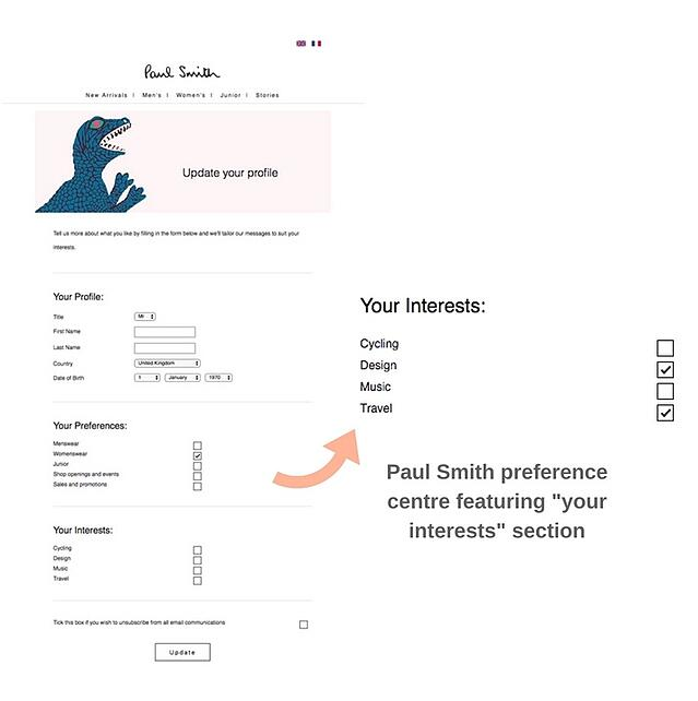 Paul Smith preference centre.