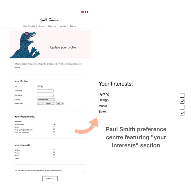 Paul Smith preference centre.