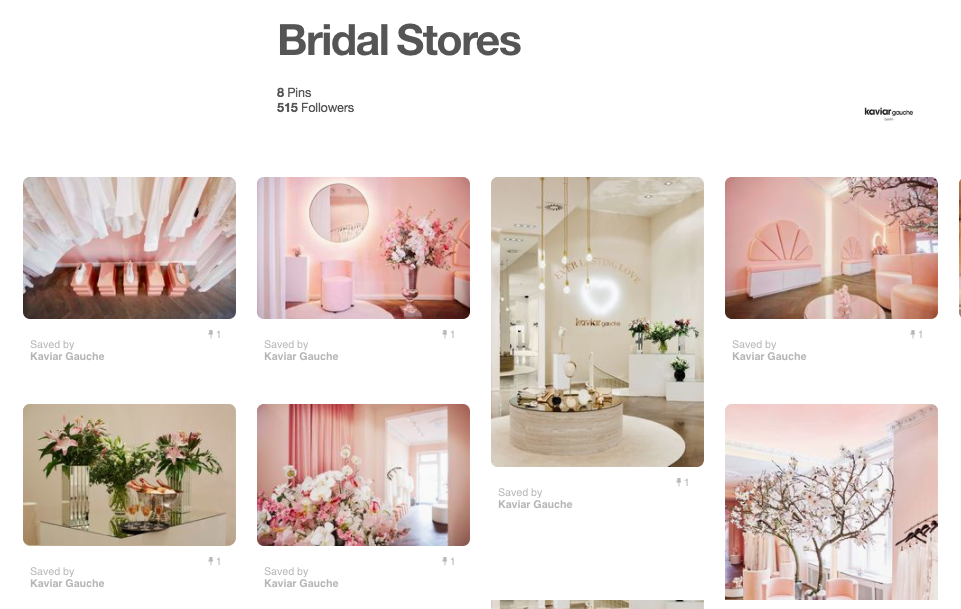 Example of brand promoting offline store using Pinterest from Kaviar Gauche