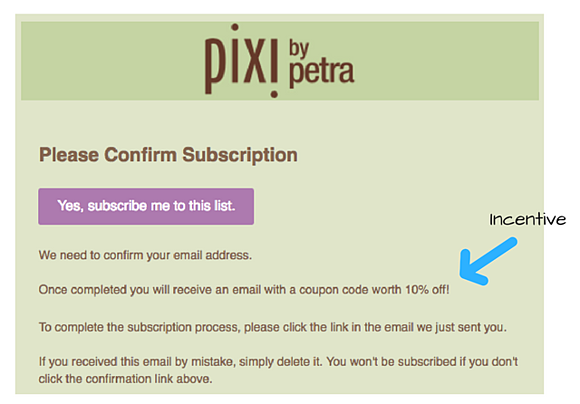Pixi incentive included in double opt-in email