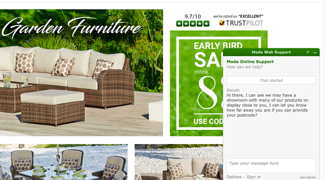Moda Furnishings live chat onsite to establish geographic data