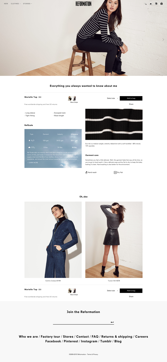 Reformation product page