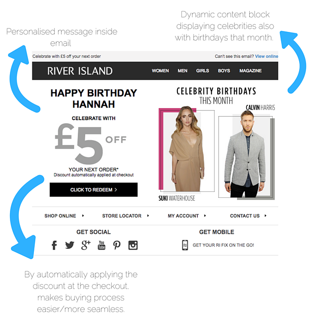 River island birthday email