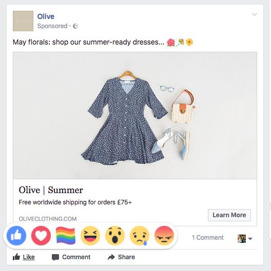 new Facebook reaction rainbow flag