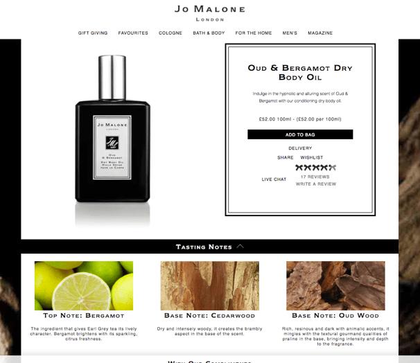 Jo Malone ecommerce product page