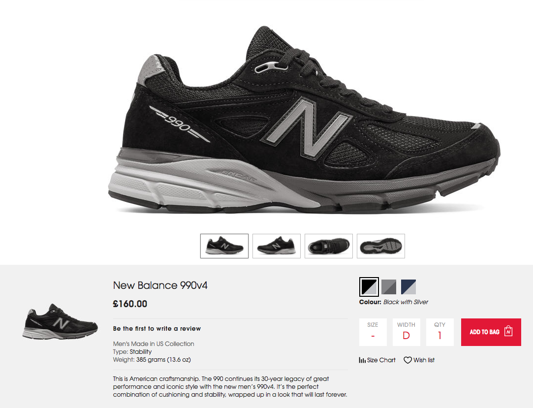 New Balance ecommerce product page